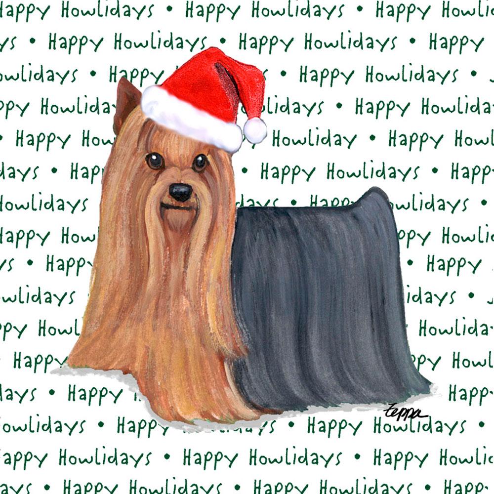Yorkie Holiday Coasters Long Hair