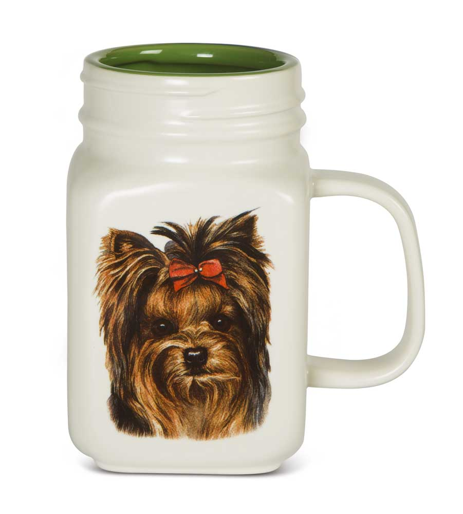 Yorkie 21 Oz. Ceramic Mug Mason Jar - All You Need Is Love