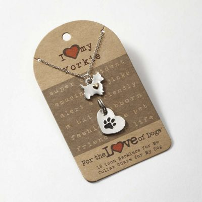 Yorkie Necklace & Collar Charm Set 16 Inches