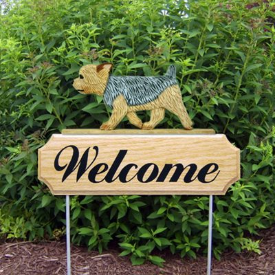 Yorkie Outdoor Welcome Garden Sign - Puppy Cut - Brown & Gray in Color