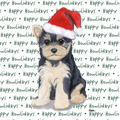 Yorkie Dog Coasters Christmas Themed Puppy