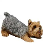 Yorkie Puppy Cut Figurine in Stretching Pose - Bronw - Black - Tan in Color