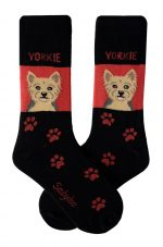 Yorkie Puppy Cut Socks on Red Background