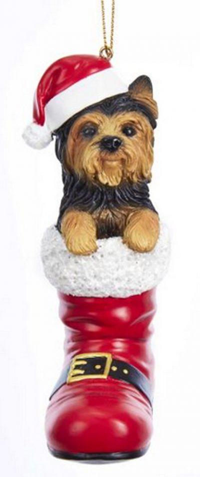 Yorkie Santa Boot Ornament
