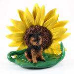 Yorkie Puppy Cut Sunflower Figurine