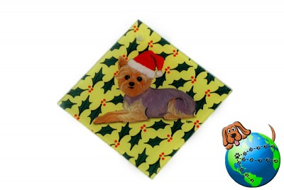 Yorkie Wearing Sant Hat Crystal Glass Ornament with Holly Design
