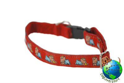 Yorkie Dog Breed Adjustable Nylon Collar Small 7-11″ Red 1