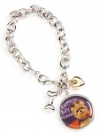 Yorkie Charm Bracelet w/ Heart & Bone Puppy Cut