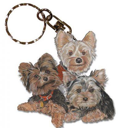 Yorkie Wooden Dog Breed Keychain Key Ring 1