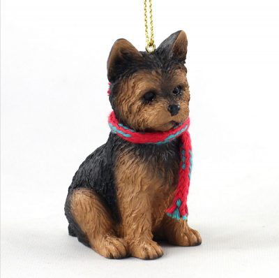 Yorkie Dog Christmas Ornament Scarf Figurine Puppy Cut