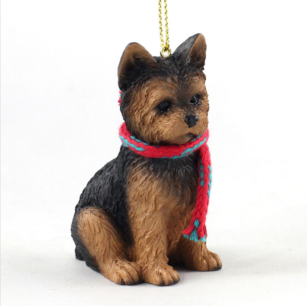 Yorkie Christmas Scarf Ornament Puppy Cut -